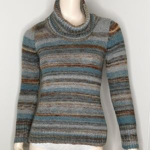 Jana Muted Ombre Earth Tones Cowl Neck Sweater